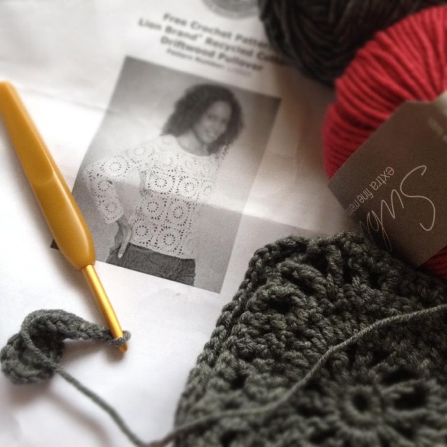 Lionbrand Driftwood sweater and yarn.jpg