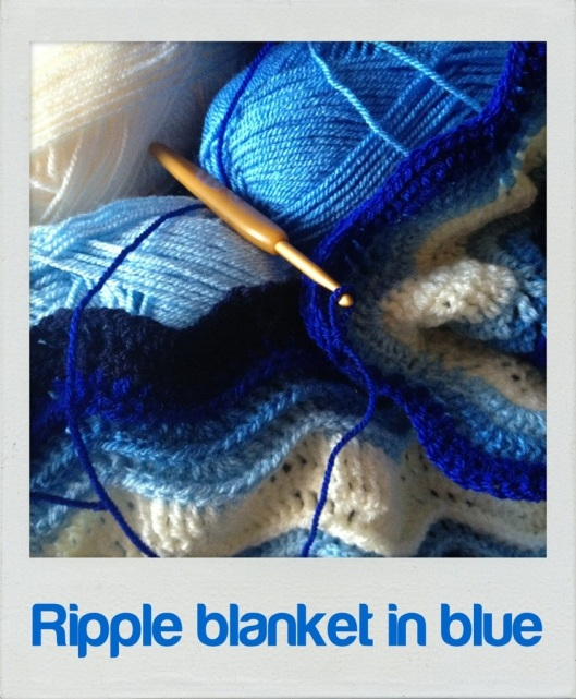 blue ripple wave crochet blanket