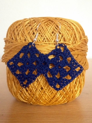 navy granny square crochet earrings