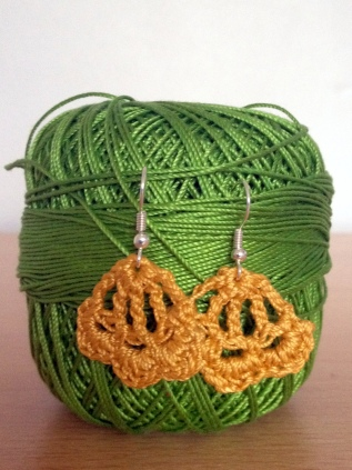 mustard crochet earrings