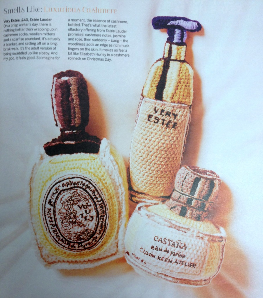 Stylist magazine knitted crochet perfume bottles