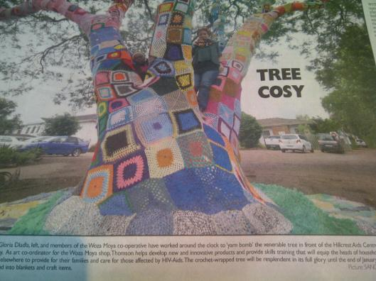 Hillcrest aids centre tree yarnbomb