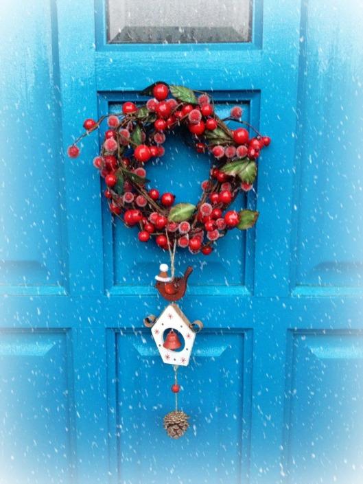 xmas door snow and frost