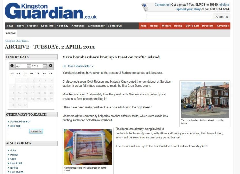 The yarnbomb made the local news