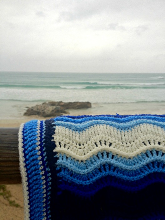 Atlantic waves ripple crochet blanket