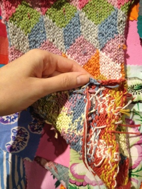Visitors are encouraged to touch the Feeling Wall. I investigated the back of the knitting.