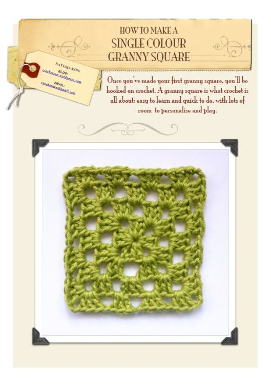 Single colour granny square tutorial front page