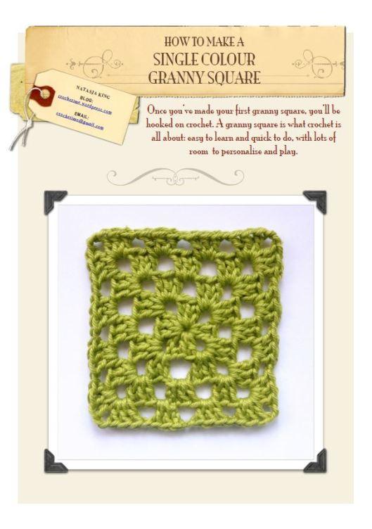 Single colour granny square tutorial front page