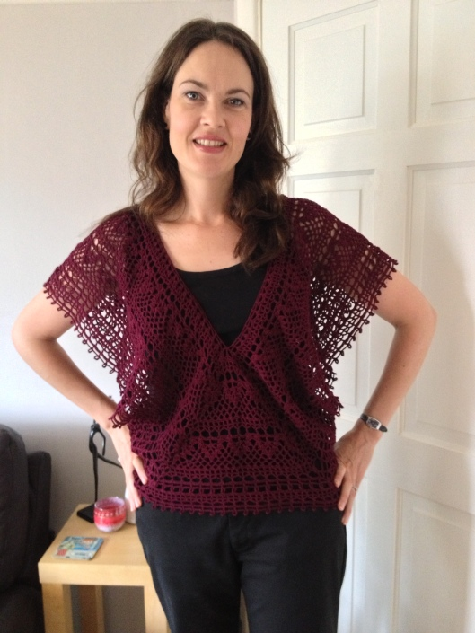 Japanese crochet v-neck top