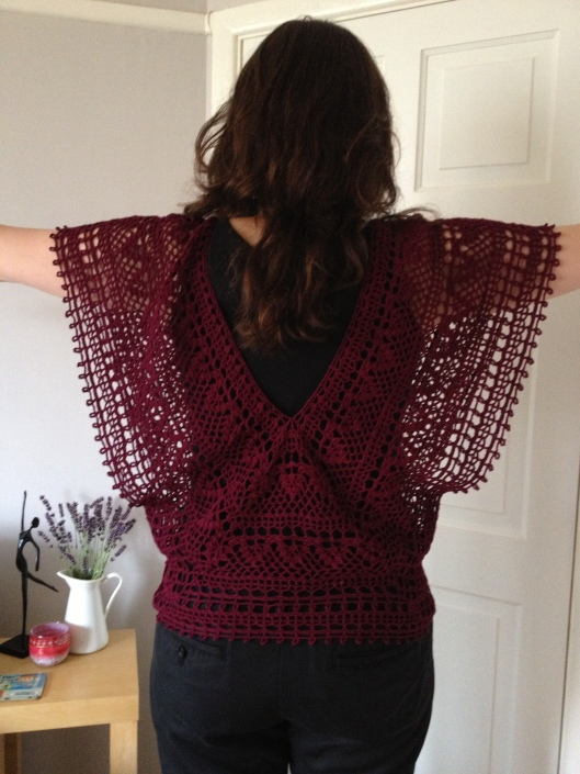 Japanese crochet v-neck top from back