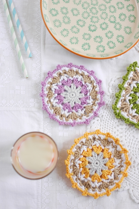lacy crochet coasters
