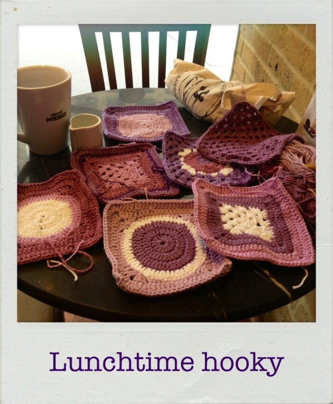 purple crochet squares
