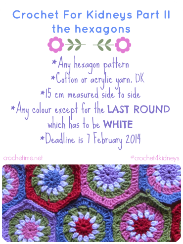 Crochet for Kidneys the hexagons
