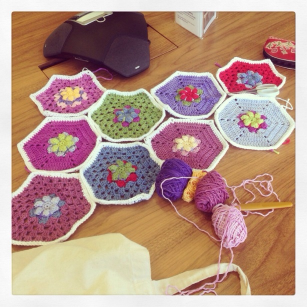 crochet hexagons and conference phone