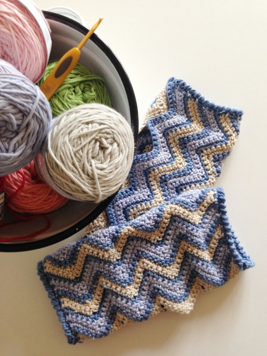 chevron wrist warmers and yarn