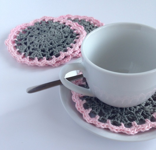 pink and grey crochet coasters