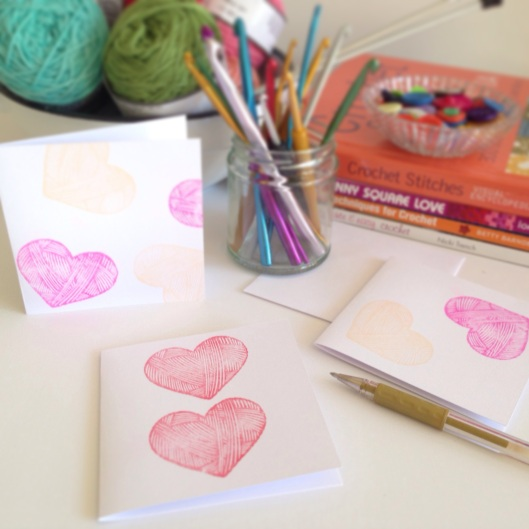 love yarn hearts notecards