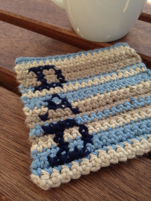 striped crochet coaster for dad