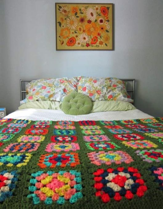 green granny square blanket from mygirlthursday
