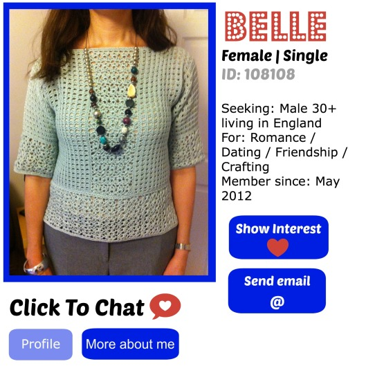 online dating profile for crochet sweater