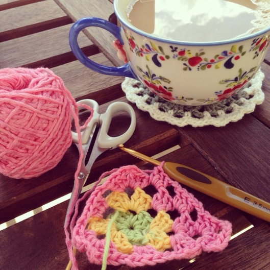 pink yarn crochet bunting
