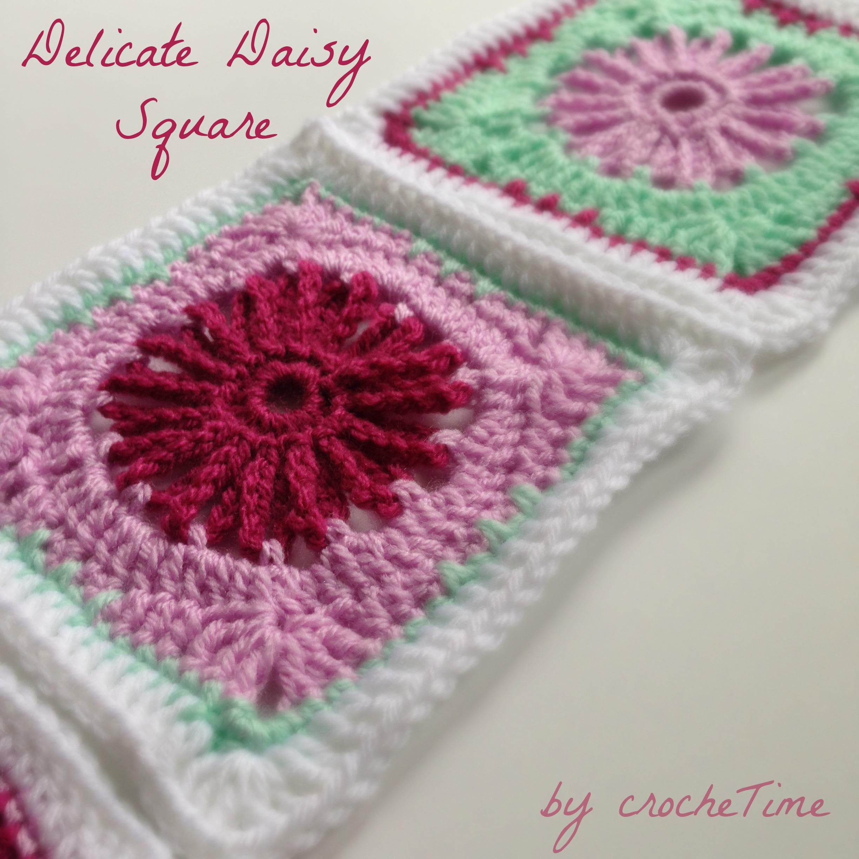 Delicate Daisy Square pattern | crochetime