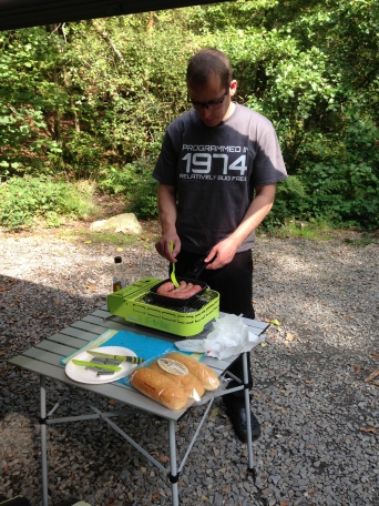 Cumberland sausage on the bbq