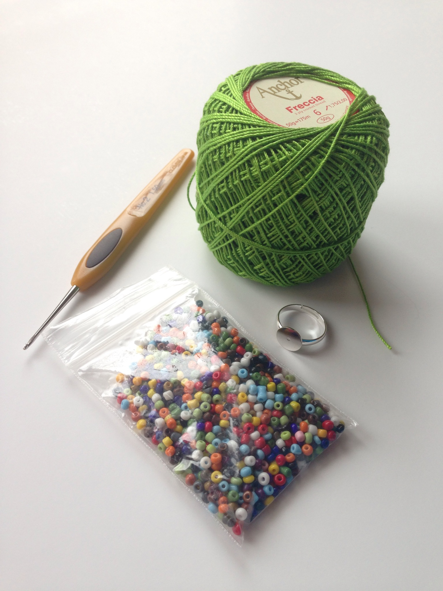crochet thread seed beads ring blank