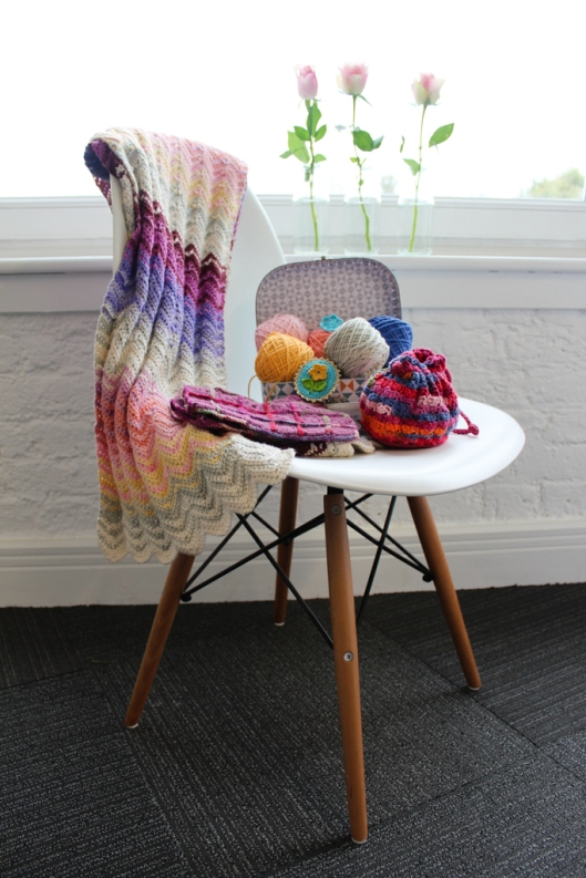 Crochet Pretty iBook projects on chair