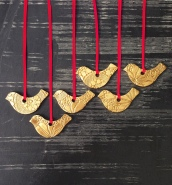 Red and Gold Bird Christmas Decoration