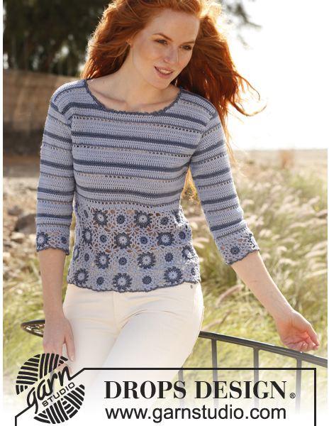 Drops Design Blues squares and stripes crochet top