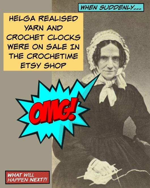crochtime sale cartoon knitting woman