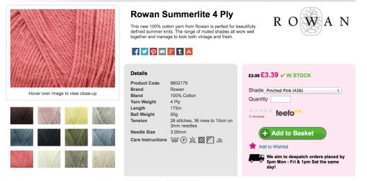 Rowan Pinched Pink Deramores