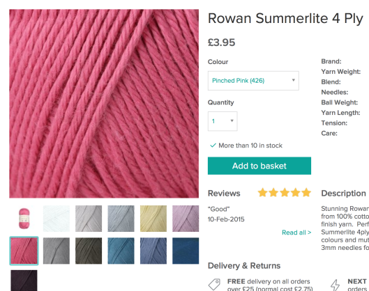 Loveknitting Rowan summerlite
