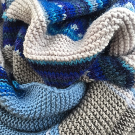 Close up of knitted scarf